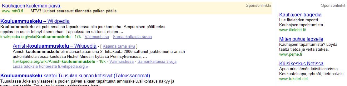 MTV3 mainostaa Kauhajoen tragedialla